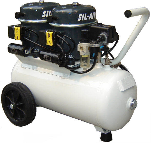 Silentaire Sil-Air 100-24 2x1/2 HP Oil Lubricated Compressor